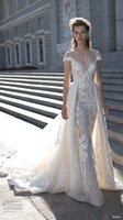 Wholesale Short Bridal Cape - 2016 berta bridal over skirts wedding dresses cape sleeves lace wedding gowns illusion neckline chapel train embroidery bridal gowns