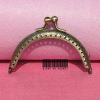 al por mayor marco de anillo de bronce-Maletas y Bolsas Accesorios Piezas 50pcs / lot DIY 8.5cm latón antiguo besar el anillo del marco del monedero del metal del corchete de la manija para el bolso bolsa de artesanía