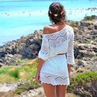 beach girls with out dress - Best seller Fashion Women Hollow Out White Lace Dress Beach Party Dresses With Belt for ladies girls jul