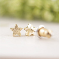 alloy drawing - Fashion five pointed star earring wire drawing surface stud earrings for women Delicate gold and silver star earring