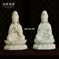 Wholesale Amoy source Hiway small ceramic wishful Guanyin Buddha Feng Shui masters crafts ornaments living room