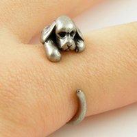 Al por mayor-UNA PIEZA Declaración de la venta caliente del abrigo anillo animal - Anillo perro de cocker spaniel de plata de la joyería anillos de la manera del anillo lindo para las mujeres 2015