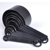 Wholesale 10sets set Kitchen Cook Black Plastic Teaspoon Scoop Measuring Spoons Cups Measuring Set Tools hot sale