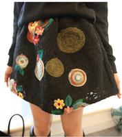 al por mayor los patrones de la falda de la vendimia-Falda de la fruta de la flor del Knit de la vendimia falda vestido de bola soplo alto cintura bordado patrones cadera diseñador lindo tutu saia femeninas