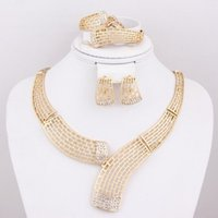 gold jewelry - African Fashion Rhinestone jewelry K Gold Plate Necklace Earrings Set Bridal Wedding Costume Jewelry Sets A1182