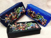 Wholesale 100pcs New The Avengers Pencil Bag Fabric Zippers Pencil Case Children s Pen bag Stationery bags Students tool bag