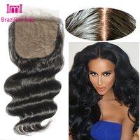 Cheap 7A Cheap Silk Base Closure Brazilian Hair 4x4 Body Wave Free Middle 3 Part Silk Base Closures With Baby Hair Silk Top Closures