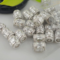 Wholesale Finding Fashion DIY Silver Plated Copper Spacer Rhinestone Crystal Zircon European Beads Fit Charms bracelet