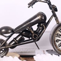 antique motorcycle works - American country creative manual Harley wrought iron motorcycle model furnishing articles decorative clock cm