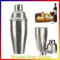 Wholesale New Silver Stainless Steel ml oz Bartender Cocktail Drink Martini Shaker Jigger Wine Mixer Bar Set