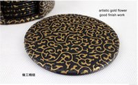 leather coaster - 4 quot set round double sides PU leather coffee tea cup pad cup mat coaster tableware gold black A