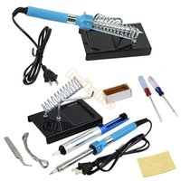 Wholesale 9 in1 DIY Electric Soldering Iron Starter Tool Kit Set With Iron Stand Solder Desoldering Pump V W good quality