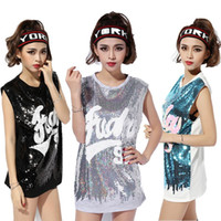belly songs - The club DS costumes perform jazz dance song new hip hop clothing wear sleeveless sequined jacket