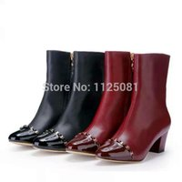Wholesale Fashion Brand Designer Zip Metal Women Boots High Quality Genuine Leather Shoes High Heels Boots Motorcycle Boots