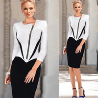 black pencil dresses - 2015 new arrival women bodycon dress sexy black and white dress zipper spring fashion pencil dress plus size women clothing