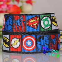 ribbons - 50yards quot mm New the Avengers Hero super mand cartoon logo printed grosgrain ribbon