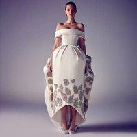 off white lace bridal wedding dress - 2015 Fashin Dubai Arabic Wedding Dresses Off The Shoulder Backless Applique Ruffle Buffy Bridal Gown Vestidos De Noiva Wedding Gowns