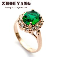 Cheap Top Quality 18K Gold Plated Emerald Finger Rings Elegant Brand Jewelry CZ Diamond Austrian Crystal For Women Wholesale ZYR088