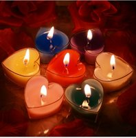 Wholesale X Tea light Heart Candles Paraffin Wax Floater Romantic Decoration Disc Wedding Party Home
