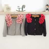 baby cardigan - 2015 NEW baby girl kids cotton knit crochet cardigan sweaters coat shawl blazers tops wape cape flower floral puff sleeve lace layers