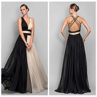 beautiful ladies tops - Sexy Criss Cross Back Black Champagne A Line Evening Dresses Chiffon Pleated V Neck Top Beautiful Formal Wear For Ladies Custom A Line