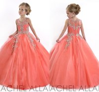 Wholesale 2016 Cupcake Cheap Girls Pageant Gowns Flower Girl Dresses For Girl Wedding Royal Blue Crystals Kids Wear Dress Tulle Tutu Long Toddler