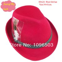 alpine wear - OEM Red wool felt hats for ladies fedora alpine new lana formal hat Popular100wool felt wear as festival hat baravois