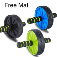 Wholesale 2014 direct selling double wheeled brand new updated version abdominal wheel ab roller with mat for exercise fitness equipment