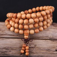 Cheap 108*0.8cm Fashion Thuja sutchuenensis Cedar Natural Buddhist Prayer Beads Wooden Bracelet Buddha Bangle Gift Charm Jewelry