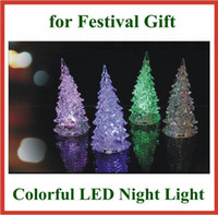 Wholesale 50pcs Holiday Festival Best Gift Color Changing Colorful LED Christmas Tree Night Light Lamp Party Decoration for Kids Gift with Retail Box