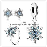 925 pendientes anillo de plata de ley y charmsJewelry Conjuntos colgante adapta Collares-Crystalized pulsera de la joyería europea del copo de nieve