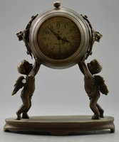 antique pair tables - Collectible Decorated Old Copper Carved Pair Child Held Mechanical Table Clock