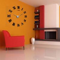 Wholesale 2016 New Living Room DIY large quartz Acrylic mirror wall clock D Roman numerals design Fashion Art Home Decor stickers wall Watch DHL