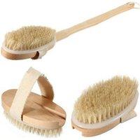 Wholesale Natural Body Brush Massager Bath Shower Back Spa Scrubber Detachable Long Wood Wooden
