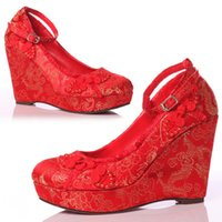 red wedding - Ankle Strap Platform Pumps Wedge Pumps with Thick Soles Red Wedding Shoes with Embroidery Almond Toe Women s Shoes High Heels Bridal Shoes