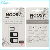 Wholesale 4 In Noosy Nano Micro SIM Adapter Eject Pin For Iphone For Iphone S SIM Card Retail Box Samsung