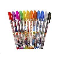 Wholesale Gel Pen Shining Glitter Ballpoint Writing Stationery Set Multi Color Pens with retail package Xmas children gift