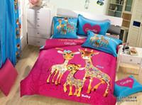 Cheap Cute Giraffe bedding set quilt duvet covers sheets kids deer bed in a bag bedroom 100% cotton queen size cartoon hot pink blue bedcover