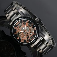 Cheap Wholesale-Classic Men Mechanical Watch Analog Hand Wind Movement Black Clock Gift