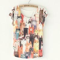 Cheap Many Cat Print women t shirt Best Cute Cat Print summer t shirt