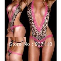 Cheap 2014 Wholesale and Retail Leopard Print Deep V-Neck Teddy Lingerie Women Ladies Sexy One Piece Lace Lingerie Bodysuit One Size