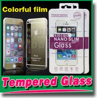 Wholesale For iphone6 Tempered Glass Screen Protector Colorful Mirror Tempered Glass Film Treated Glass Film For iphone S plus s s
