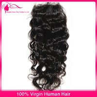 Wholesale 7A Brazilian Water Wave Lace Closure Free Parting Wet and Wavy Virgin Human Hair Closure Pieces Bleached Knots Human Hair Closure