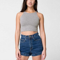 Wholesale 2015 High Quality Women Ladies Sexy Crop Tops Sleeveless O Neck Tight Fitting Slim Short Tank Colors
