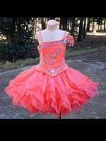 girls knee length pageant dresses - Unique Fashion Girls Ball Gown Flower Girl Dresses With Cap sleeve One Shoulder Beads Organza Pageant Dresses For Girls Knee Length