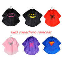 Wholesale 2015 New high quality Kids Rain Coat children Raincoat Rainwear Rainsuit Kids Waterproof Superhero Raincoat DHL free ship