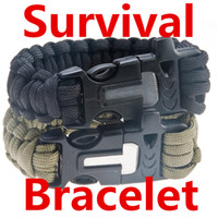Wholesale Survival Bracelets Flint Fire Starter Paracord Whistle Gear Buckle Camping Ignition Equipment Resure Rope Escape Bracelet Kit in