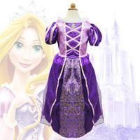 kids costumes - 2014 Children Kids Cosplay Dresses Rapunzel Costume Princess Wear Perform Clothes kids purple party dress A5190