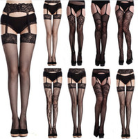 Wholesale Black Seamless Garter Belt Thigh High Stocking Pantyhose Tights Women Sexy Lingerie Lace Top Fishnet Suspender Pantyhose Legging Pants