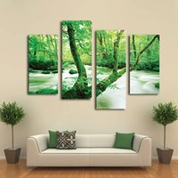 Wholesale High quality Stretched ready to hang Piece Realistic Rainforest landscape art picture canvas prints home wall decor painting